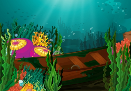 rowboat: illustration of coral and rowboat in deep sea Illustration