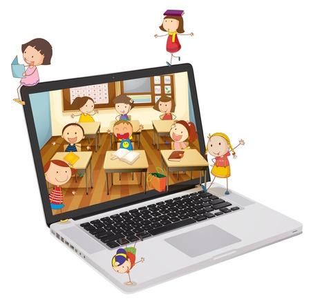 computadora caricatura: ilustraci�n de la escuela a los estudiantes de imagen en un ordenador port�til