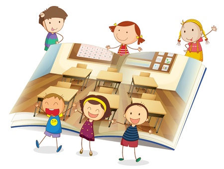 illustration of a kids studying in classroom Vector