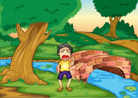 illustration of a boy crying alone in jungle Vector