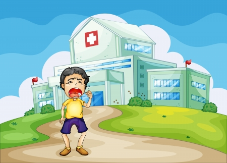 doctors and patient: illustration of a boy crying outside the hospital