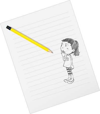wondering: illustration of drawing paper and pencils on a white background