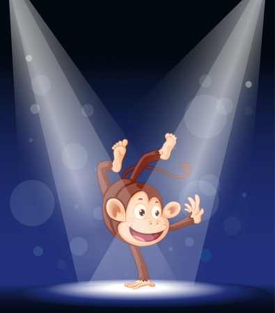 monkey cartoon: illustration of a monkey performing on stage
