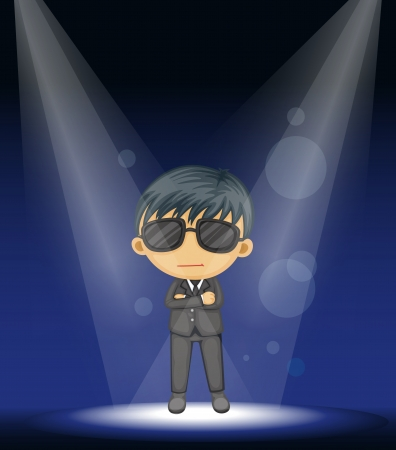 illustration of a boy performing on stage Vector
