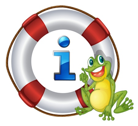 letter alphabet pictures: illustration of frog showing a float a white background Illustration
