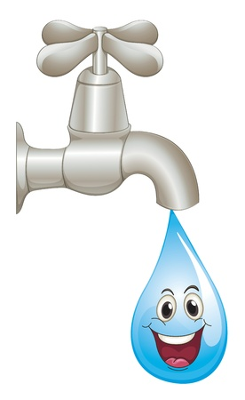 waterbesparing: illustratie van een kraan en water op een witte achtergrond Stock Illustratie
