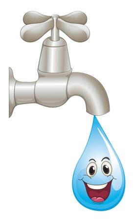 ahorrar agua: ilustraci�n de un grifo y el agua sobre un fondo blanco