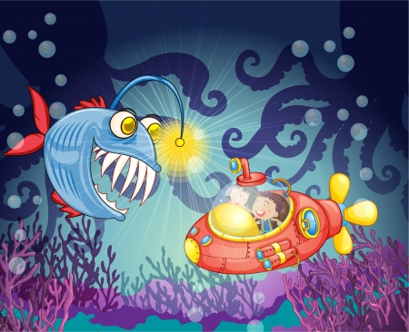 under the sea: illustration of a monster fish and submarine in water Illustration