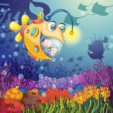 submarino: ilustración de un pez monstruo y los niños en el agua