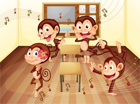 theatrical dance: illustration of a monkeys enjoying in classroom