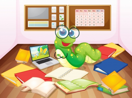 computer dancing: illustration of a worm enjoying in classroom