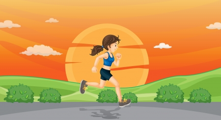 illustration of a girl running on road Vector