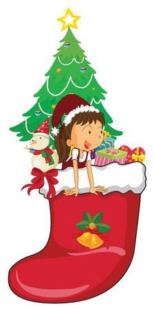 illustration of girl celebrating christmas festival Stock Vector - 14115750