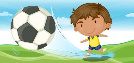 illustratie van een jongen aan het voetballen op de grond Vector Illustratie