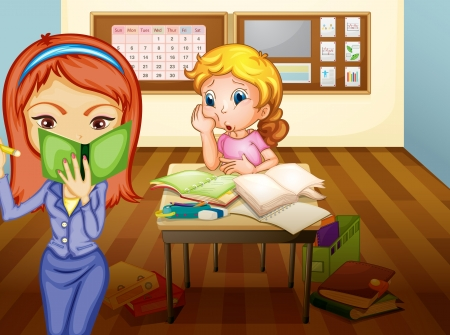 teaching children: illustration of a  a girl and teacher in classroom in classroom Illustration