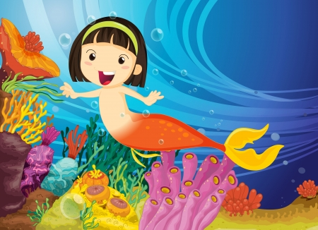 illustration of a kids swimming in water Vector