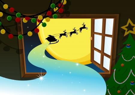 тундра: Иллюстрация Санта собирается в оленя автомобиля в Рождество