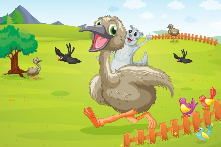 illustration of ostrich running on green lawn Vector