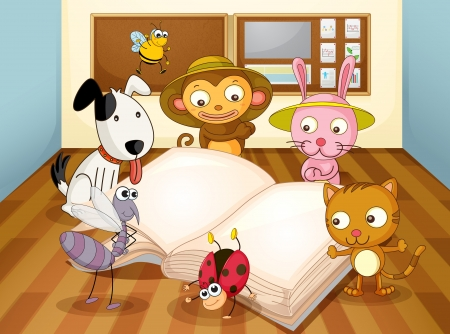 jumping monkeys: illustration of a animals reading book in classroom