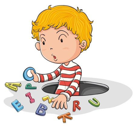 learning english: illustration of a a boy with english letters Illustration