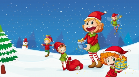 snow fall: illustration of kids celebrating christmas festival