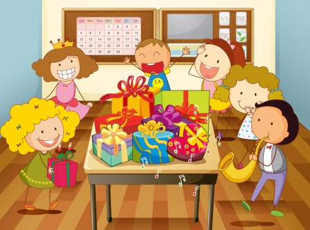 illustration of a kids celebrating festival in classroom  Vector