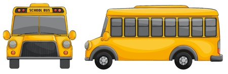 side view: illustration of school bus on a white background Illustration