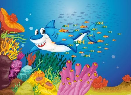 illustration of shark fish in deep blue sea Vector