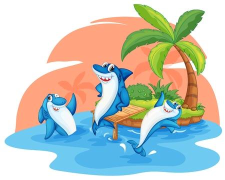 tiburones: ilustraci�n de tiburones en la isla sobre un fondo blanco