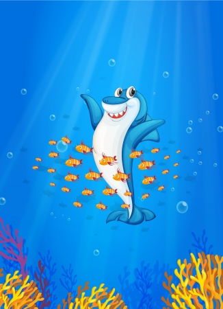 illustration of shark fish in deep blue sea Vector