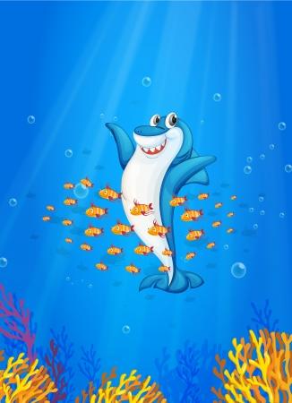 illustration of shark fish in deep blue sea Stock Vector - 14116052