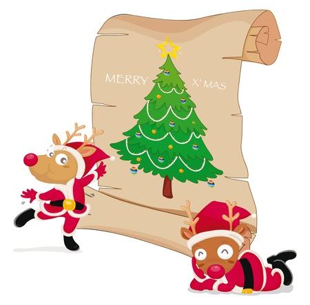 тундра: Иллюстрация оленей, празднование Рождества Иллюстрация