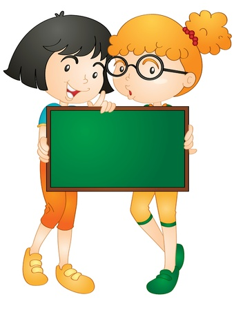 explain: illustration of girls showing board on a white background