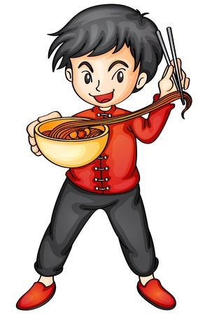 thai noodle: illustration of a boy eating noodles on a white background