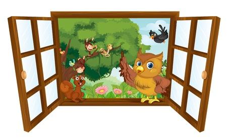 ventana abierta: ilustración de diversos animales sobre un fondo blanco