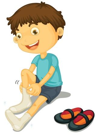 ajoelhado: Ilustra��o de um menino cal�ar sapatos
