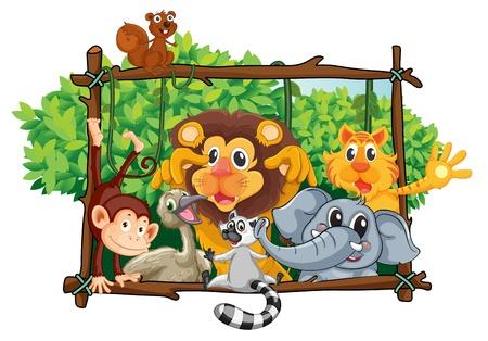 흰색 배경에 다양 한 동물의 그림을