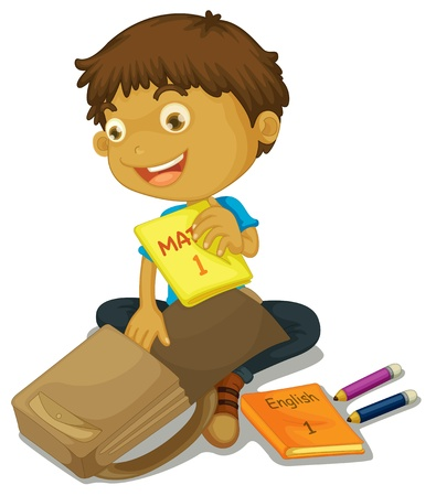 one boy: illustration of a boy filling up schoolbag on white