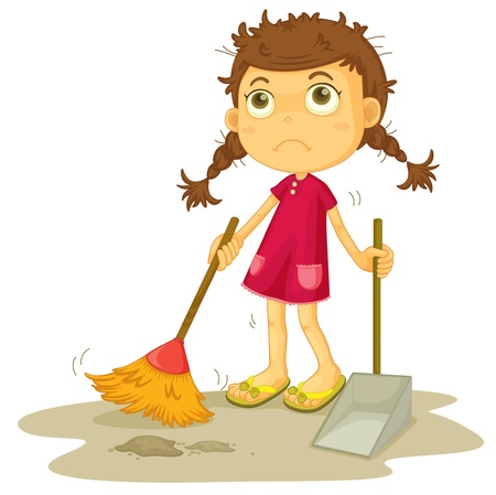 dust pan: illustration of a girl cleaning floor on a white background Illustration