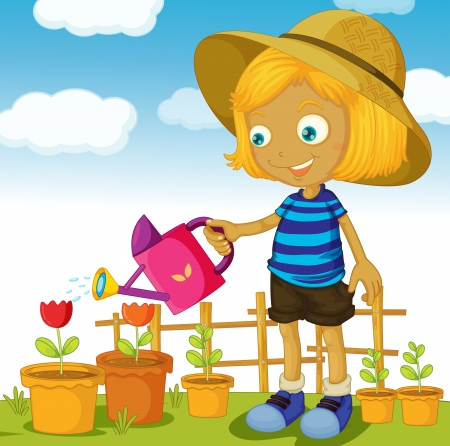 plant pot: illustration of a girl watering plants on a white background Illustration