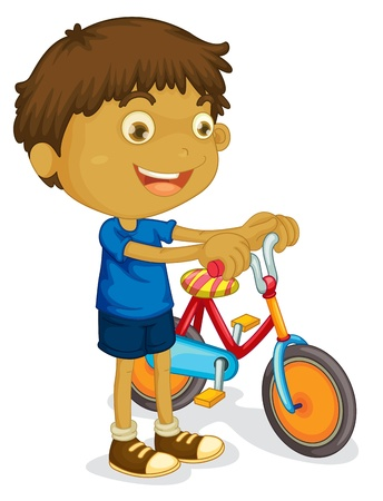 one boy: illustration of a boy playing bicycle on a white background