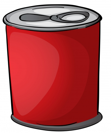 tin: illustration of red tin on a white background