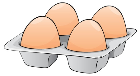huevo caricatura: ilustración de cuatro huevos en una bandeja de huevos Vectores