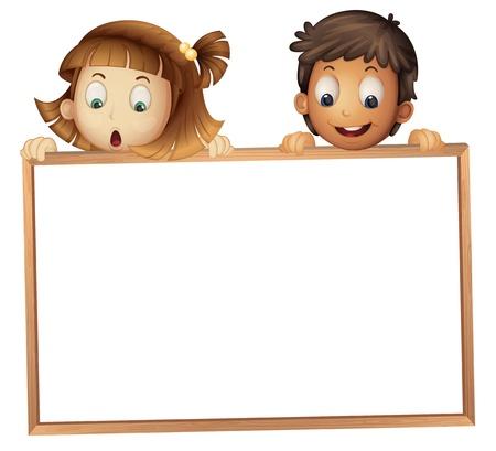 白い背景の上のボードを示す子供のイラスト
