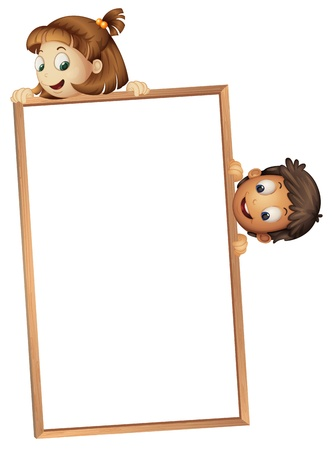 ad board: illustration of a kids showing board on a white background