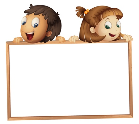 notice of: illustration of a kids showing board on a white background