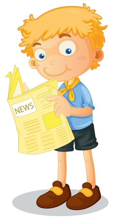 reading news: illustration of a boy reading news on white
