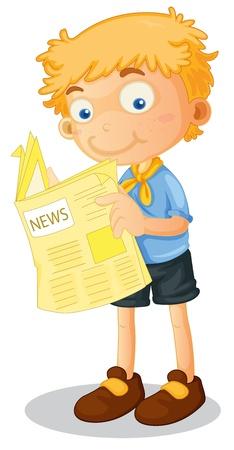 illustration of a boy reading news on white