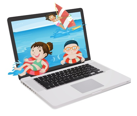 mousepad: illustration of a laptop and kids on a white background