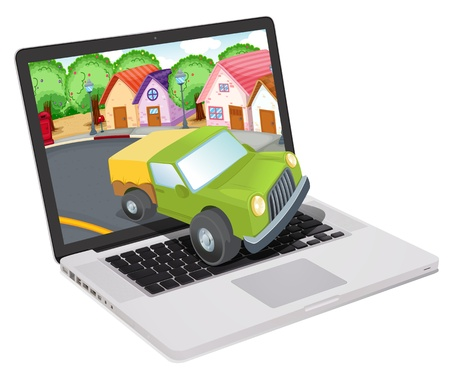 illustration of a laptop and car on a white background Stock Vector - 14132429
